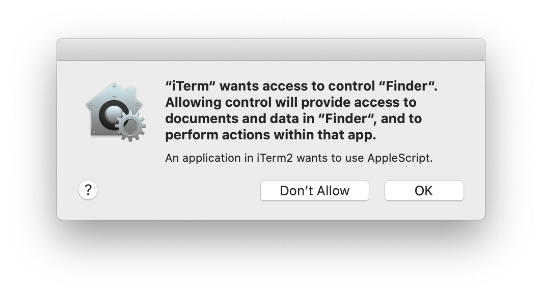 iTerm would like to control Finder