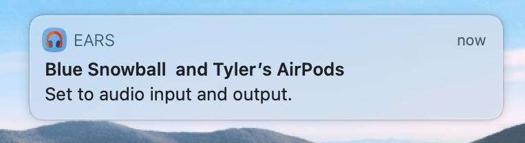 Ears Sample Notification Screenshot