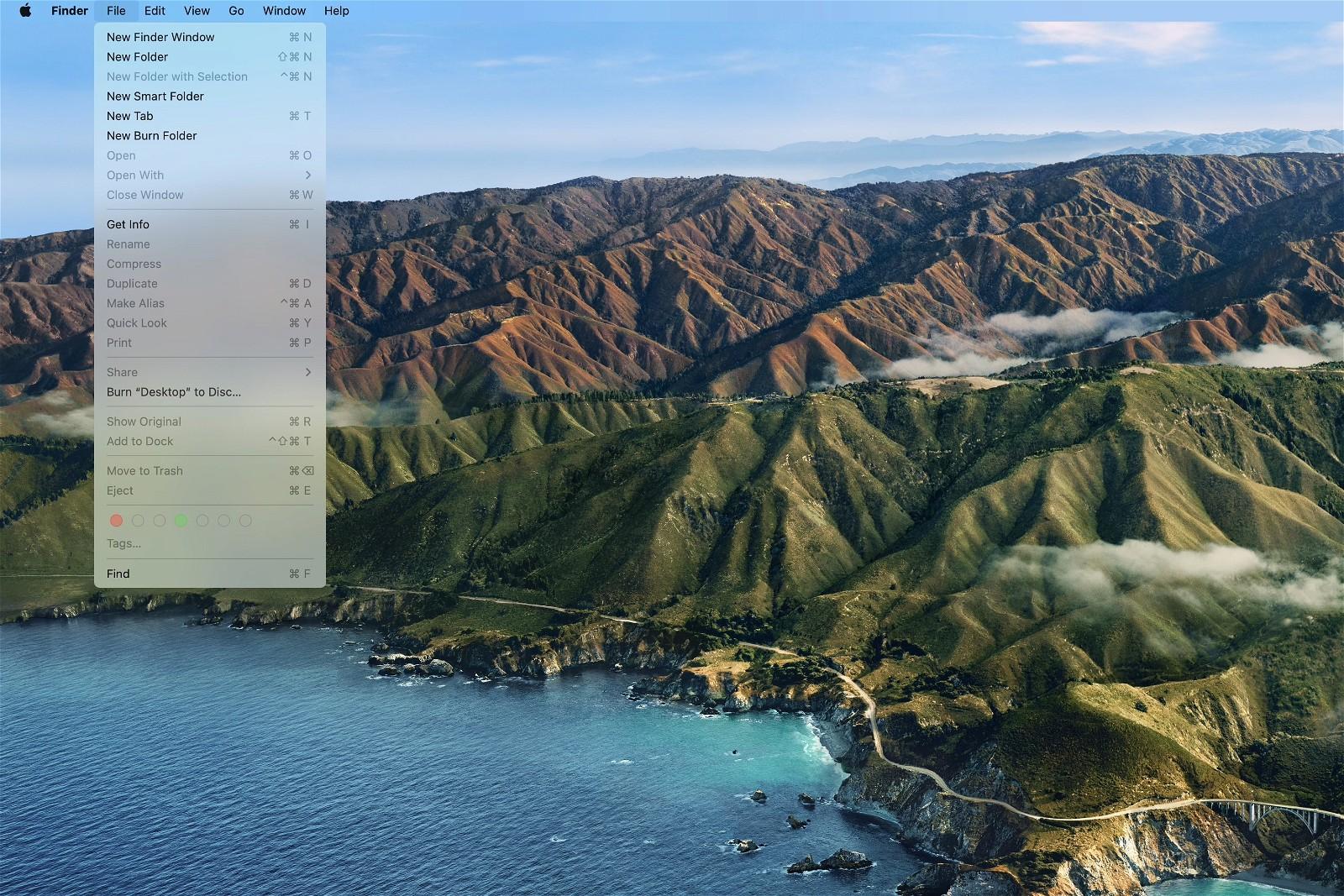 Big Sur Desktop with Menu Open