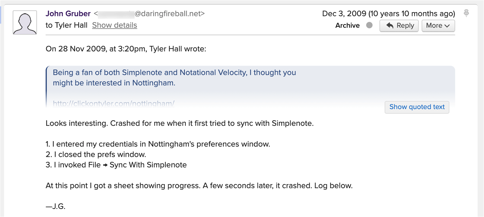 Screenshot 1 of email with John Gruber