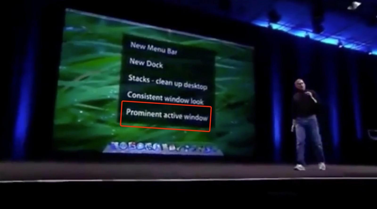"""Prominent active window"" WWDC 2007 Keynote Slide"