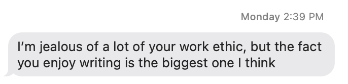 Text about work ethic