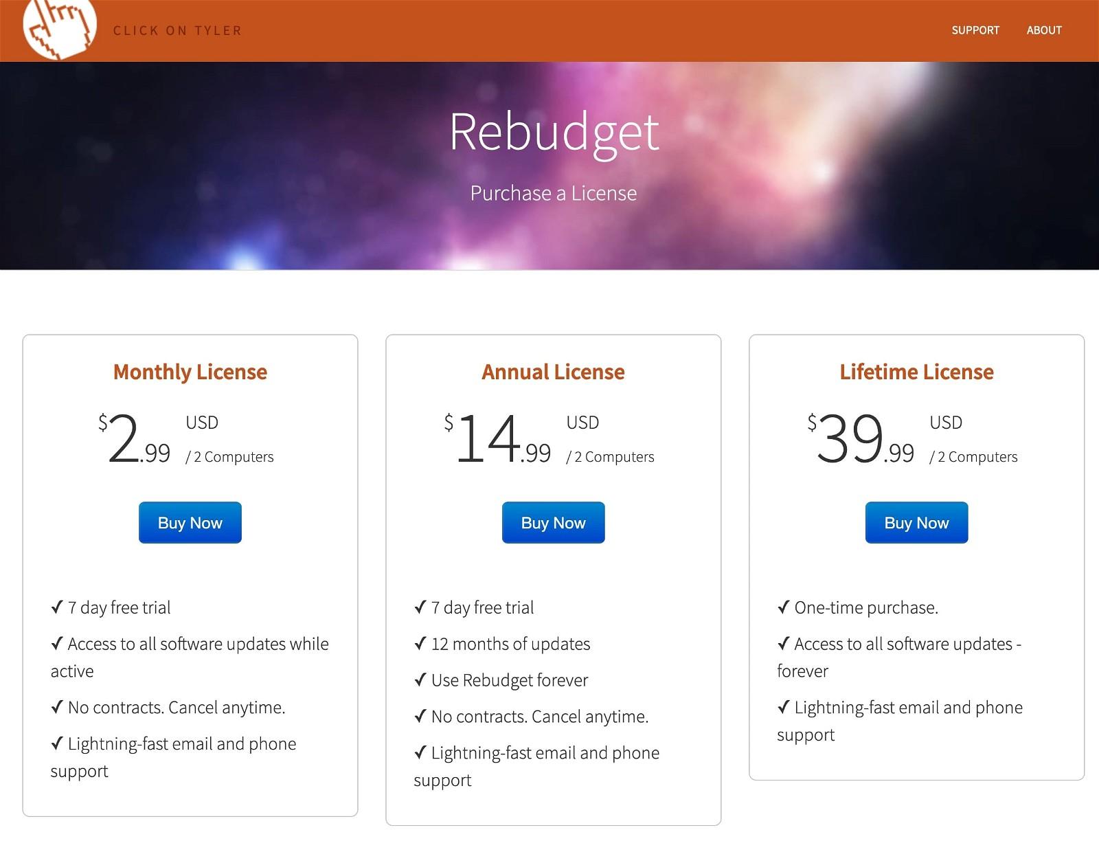 Rebudget Pricing Screenshot