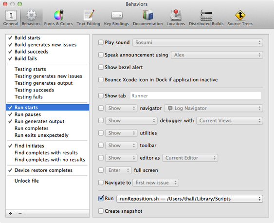 Xcode Run Behavior