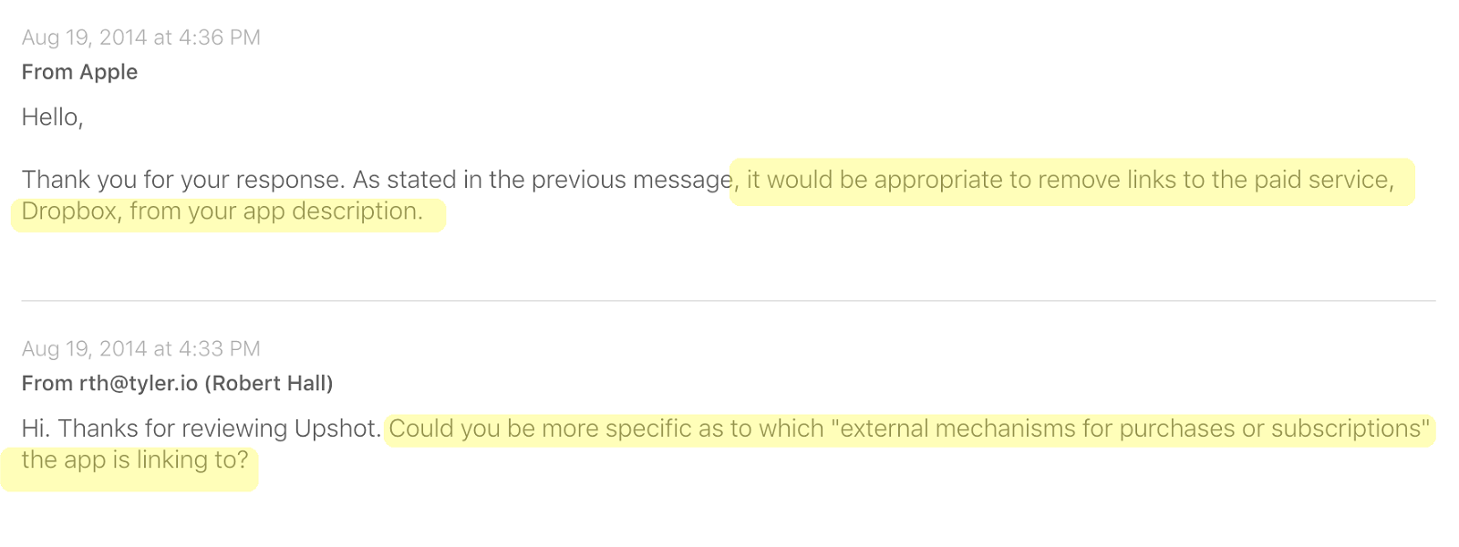 Upshot Dropbox Rejection